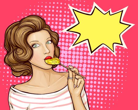 pop art pin up illustration of a young brunette girl sucks lollipop heart, isolated on pink background. Flirting female character. Advertising poster for sales, discounts, special offers