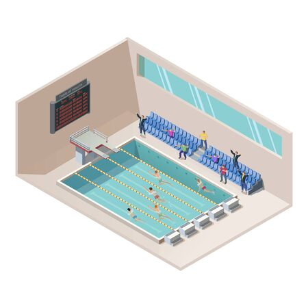 isometric illustration of swim race in water pool. Swimming activity sport competition concept. Athletes on line race. Indoor interior of swimming pool, grandstand, swimmer and scoreboard