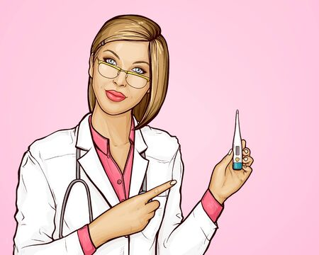 Young woman doctor in white medical gown and stethoscope on neck holding electric thermometer in her hand. Female doctor in glasses measured body temperature of patient. Pop art  illustration.