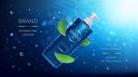 Natural mint vector cosmetic realistic ads poster. Bottle with lotion and green leaves on blue underwater background with air bubbles and rays. Mock up for magazine or catalog with organic cosmetics