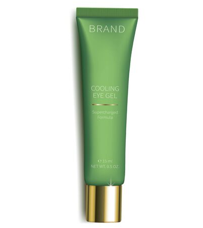 Cosmetic gel for eyes skin care, realistic vector. Light green plastic tube with revitalizing eye gel, isolated on white background. Brand design for luxury premium smart cosmetics, anti-age cream