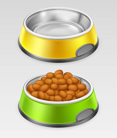 Empty and full of feed metal plate for animal with black edging, isolated on gray background. Yellow and green stainless steel bowl for cat, dog, pet for food or water, vector realistic illustration.