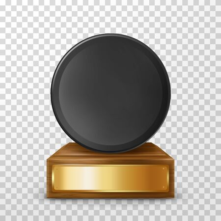 Winner hockey trophy award on wooden stand with empty plate, isolated on background. Black puck on pedestal with golden nameplate. Award prize for victory in ice hockey competition,realistic 3d vector Illusztráció