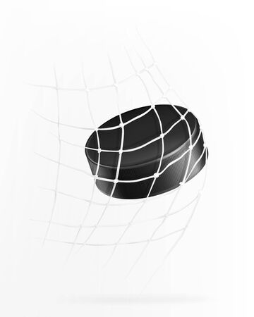 Ice hockey game with hockey puck flies into goal net, 3d realistic vector illustration. Flying hard rubber disk in goal, isolated on white background. Template for sport event, bets site, competition 向量圖像