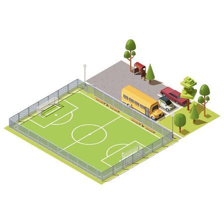 Vector 3d isometric field for football games, parking with cars, yellow school bus and road with bus stop. Green field for sport near asphalt way, city concept. Isometry isolated on white background.