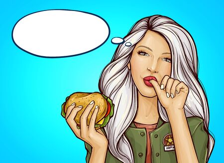 Vector pop art girl in green military-colored jacket with burger licking her finger, isolated on blue background. Pretty young woman holding in hand tasty huge hamburger. Fast food advertising concept