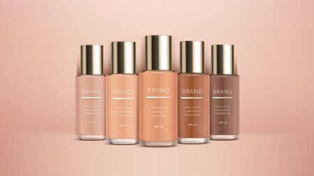 Cosmetic realistic ads banner with premium foundation for perfect makeup, decorative cosmetics. Colorstay foundation of various shades on skin tone background, mock up for magazine catalog