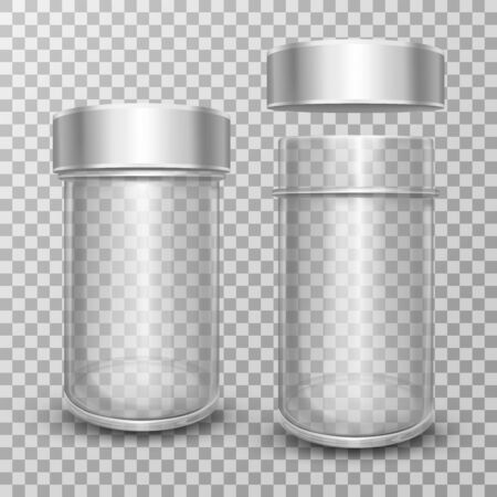 Realistic vector Illustration of empty glass jars with metal caps, isolated on transparent background. Clear can with silver lid. Packing for sugar, salt, pepper, spices and loose products for kitchen