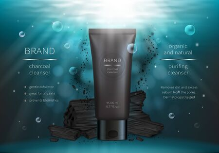 Charcoal face wash vector realistic cosmetic ads poster. Plastic tube of cleanser and black coal on blue underwater background with air bubbles and floating ash, mock up for glossy magazine or catalog