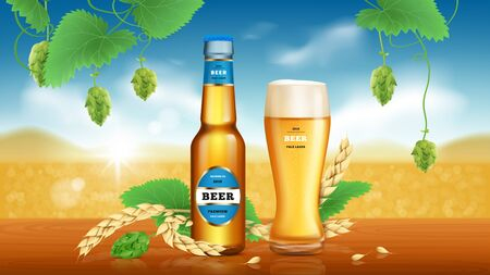 Wheat craft beer. Golden beer, refreshing alcoholic drink brewed from wheat and hops in glass bottle and lying spikelets on natural background, vector ads promotional banner.