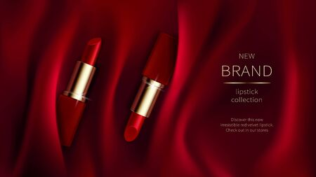 Red lipstick on bright scarlet silk or velvet fabric background with soft folds, realistic cosmetic vector illustration. Open tubes with cosmetics for women makeup, advertising poster for magazine 向量圖像