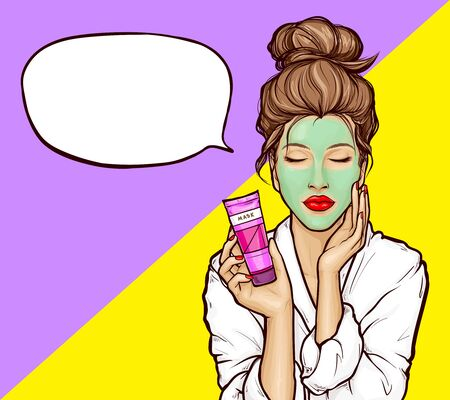 Pop art young woman with closed eyes in white bathrobe with green cosmetic mask on face and tube in hand, vector illustration on bright background. Girl relaxes, enjoys the spa, empty speech bubble.