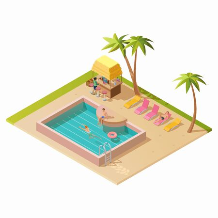 Isometric aqua park with water pool, bar, chaise lounges, palm trees, people or vacationers. Vector illustration isolated on white background. Enjoying summer vacation in outdoor swimming pool concept