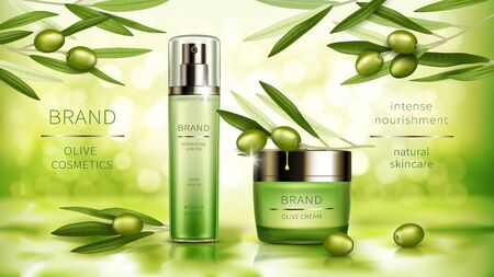 Olive cosmetics vector realistic poster. Green spray bottle with moisturizing lotion and jar of cosmetic cream, natural product, branches with green leaves and olive fruits on sunny bokeh background