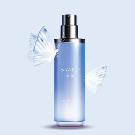 Vector cosmetic realistic product. Blue glass spray bottle with glossy silver dispenser and white butterflies on it isolated on light background, premium cosmetics design