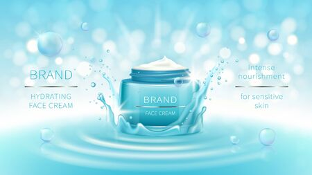 Vector cosmetic banner with 3d realistic blue open jar for skin care cream in water crown, splash, mockup for promotion. Beauty product concept with wavy water surface and bokeh for glossy magazine