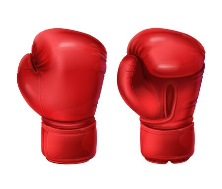 Realistic red boxing gloves, pairs of boxing equipment to protecting hands in fist fight. Vector illustration isolated on white background. Sportswear for a kick workout. Symbol of combat, competition