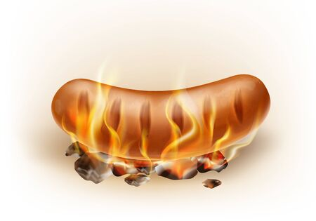 Vector realistic hot grilled sausage roasted on coals and fire, isolated on the white background. Burning classic bratwursts in flame. Picnic barbeque meal, fired street fast food. Traditional bbq. 일러스트
