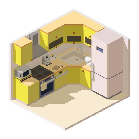 Vector isometric bright modern kitchen room with household appliances, fridge, stove, microwave, exhaust hood, coffee machine and toaster. 3d kitchen furniture, interior design of cooking place. Ilustração