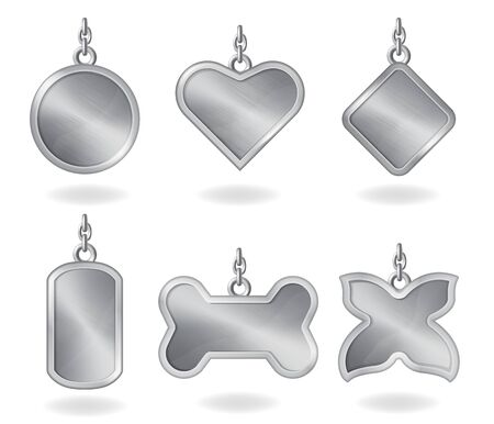 Set of metal dog tags with chain, isolated on white background. Vector realistic template of steel fobs or id badges different shapes. Silver empty personalised medallion, identification label.