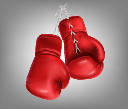 Realistic red pair of leather boxing gloves hanging on laces. Protective sport equipment in fist fight, sparring, fisticuffs or combat. Sportswear for a kick workout, training hit with a punching bag.