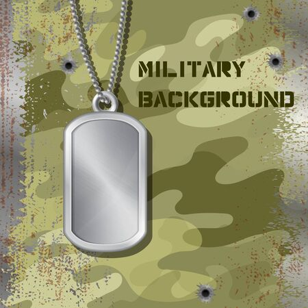 Military id tag hanging on a chain isolated on jammed camouflage background with bullet holes. Blank metal army medallion. Silver empty soldier badge for personal information of a military man.
