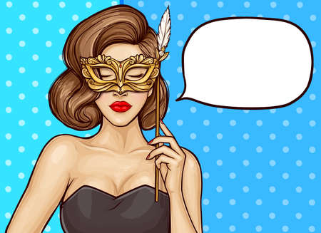 Pop art young sexy woman with carnival mask in her hand on dots background, speech bubble. Elegance girl in black dress with closed eyes holds near her face a golden mask with a feather on a stick. Stock Illustratie