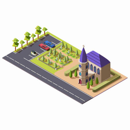 Isometric christian catholic church with cemetery isolated on white background. Religious building with chapel near burial place and parking. Architecture of public cathedral or temple along highway.