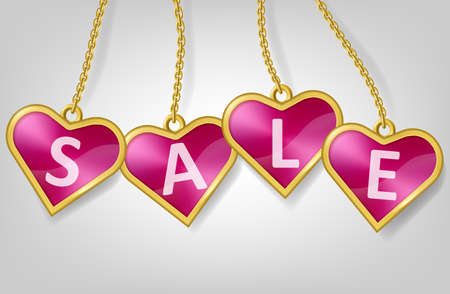 illustration of pink tags hanging on chain with text Sale isolated on white background. Heart shape badges in golden framed for discount, big sales or promo. Ad banner or poster for shop store.