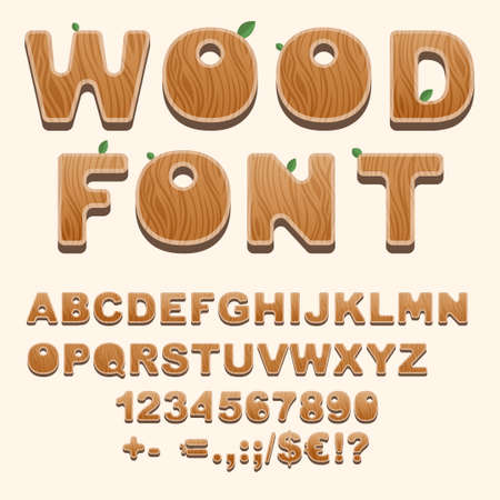 Set of natural style alphabet letters, numbers, punctuation and sans serif characters. Wooden font isolated on background. Latin abc uppercase letters, brown typeface for posters or banners typography