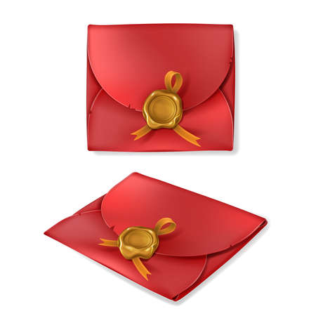 Realistic golden wax seal with ribbon on red vintage envelope, isolated on white background. Blank closed paper cover, letter package, antique message, document, postcard with stamp. 3d vector mockup. Illustration