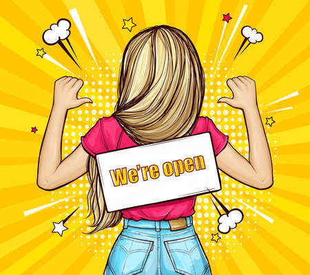 Pop art vector illustration of blonde girl standing backwards with signboard on a rope. On back of woman hangs sign with text We're open, isolated on yellow background. We are Open again. Reopening.