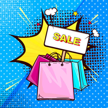 Vector pop art illustration of colorful shopping bags with banner stick. Sale banner on dots halftone background with speech bubble in shape of a star. Poster for the advertising sales and discounts.