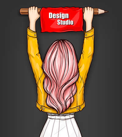 Pop art girl standing backwards and holds in hands a large pencil with red banner. Young woman with pink hair and yellow jacket holding over his head flag with text Design Studio. Education concept.