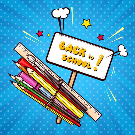 Colorful school supplies, education items and banner on wooden stick with Back to school lettering in pop art style. Crayons, paint brushes, felt-tip pen, ruler on blue background vector illustration.