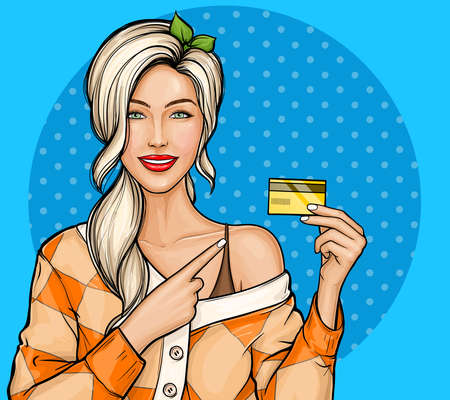 Vector illustration of a young blonde girl holding plastic credit card pointing by index finger on her. Poster for advertising discounts, sales in pop art style. Shopping with bank cards concept.