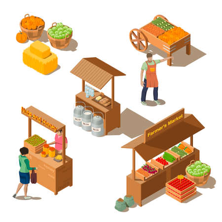 Farm local market isometric set of food counters with fresh health foods. Farmer characters selling milk products, natural honey, nuts, homemade cheese and eco vegetables. Harvest concept illustration