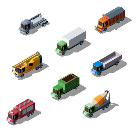 Vector set of vehicle isometric collection of colorful transportation. Commercial, construction and service trucks isolated on white background.