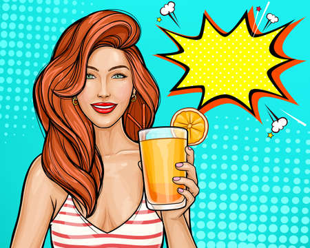 Sexy pop art girl with red hair holding a cocktail in her hand. Smiling pretty wonan isolated on blue background, speech bubble.