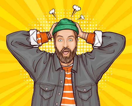 Pop art vector illustration of surprised, shocked or perplexed hipster man holding hands on head, wide opens his mouth, eyes. Amazed guy in jacket on yellow background. Unbelievable big sale concept.
