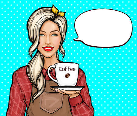 Pop art vector illustration of female barista. Vektoros illusztráció