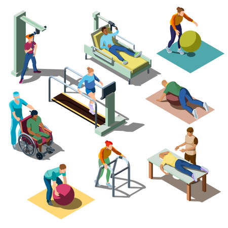 Isometric rehabilitation medical center with human characters. People with musculoskeletal disorders do physical therapy exercises, patients on the recovery and treatment program. Healthcare concept.