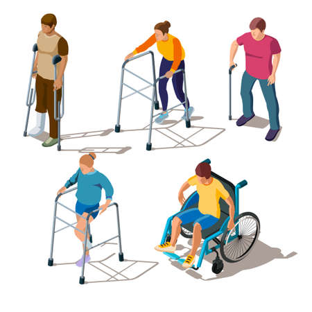 Isometric people with leg injuries, bone breaks or cracks, fracture of foot, orthopedic problems. Characters on crutches, walker, in wheelchair, with stick. Rehabilitation of musculoskeletal disorders 向量圖像