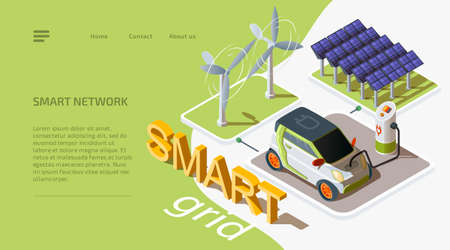 Smart grid concept. Isometric wind turbines and solar panels connected to electric car with charging station. Alternative energy source. 3d vector web banner. Template landing page for website.