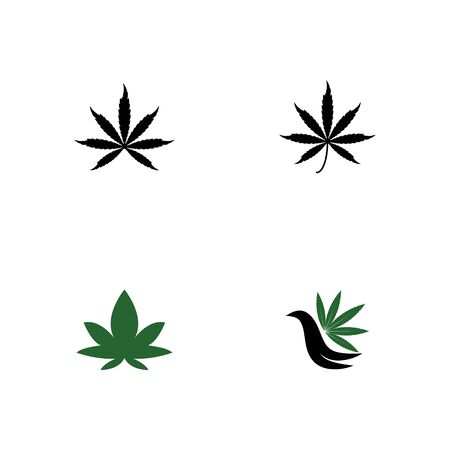 Set Cannabis Logo Template vector symbol nature Çizim