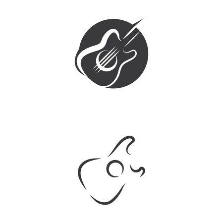 Naturaleza de símbolo de vector de plantilla de logotipo de onda de guitarra