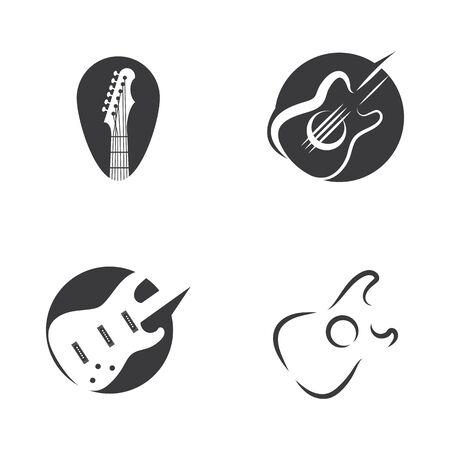 Establecer la naturaleza de símbolo de vector de plantilla de logotipo de onda de guitarra