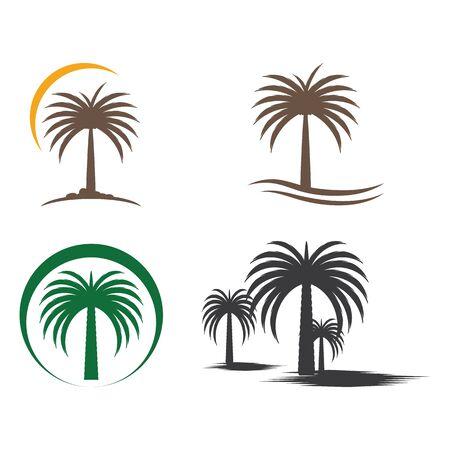 Définir les dates arbre Wave Logo Template vecteur nature symbole