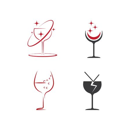 Set Wine Logo Template vector symbol nature Banque d'images - 137865695