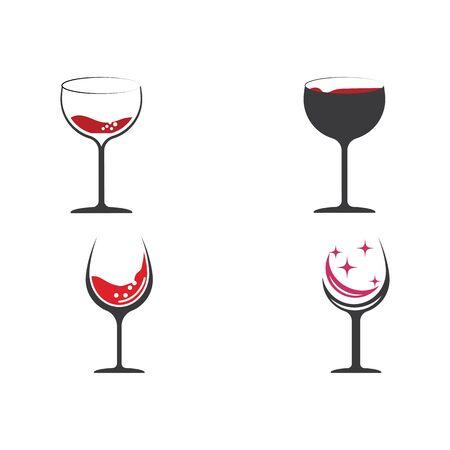 Set Wine Logo Template vector symbol nature Banque d'images - 137865700